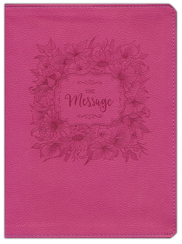 Message/Large Print Bible (Numbered Edition)-Dusty Rose Floral LeatherLook
