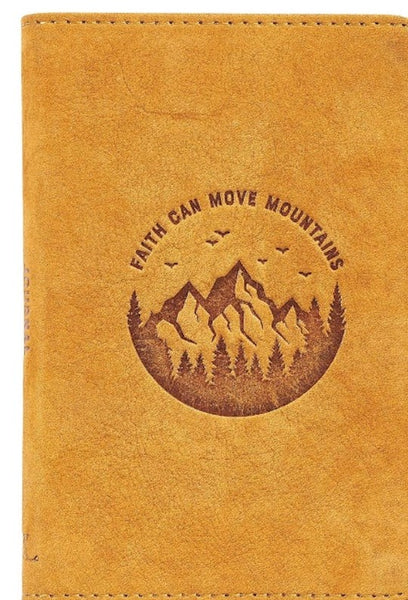 Journal-Full Grain Leather Pocket-Sized-Faith Can Move Mountains