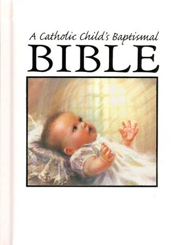 A Catholic Child's Baptismal Bible -Baby Image on Front of Bible
