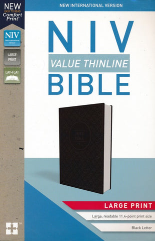 NIV Value Thinline Bible/Large Print Charcoal/Black Leathersoft with Holy Bible Geo Pattern