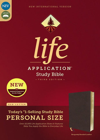 NIV Life Application Study Bible, Third Edition, Personal Size, Bonded Leather, Burgundy