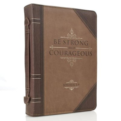 Strong and Courageous Bible Cover Brown