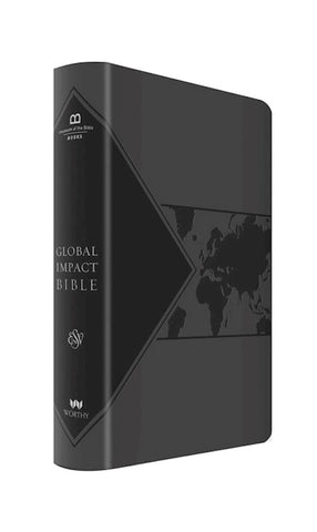 Global Impact Study Bible, Charcoal Lux Leather-ESV-Limited Quantities