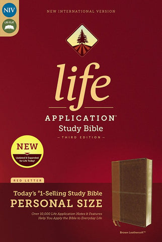 NIV Life Application Study Bible, Third Edition, Personal Size, Leathersoft, Brown, Indexed