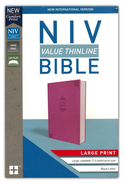 NIV Value Thinline Bible Large Print Pink, Imitation Leather with Holy Bible