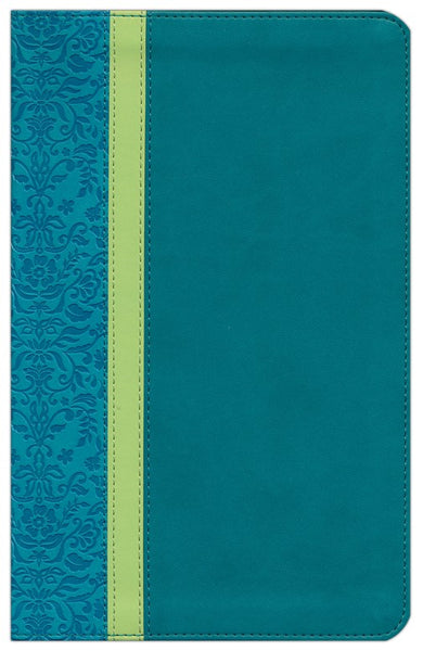 NLT Personal Size Large Print Bible-Teal Avocado/Jade TuTone