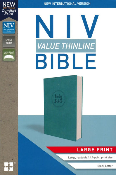 NIV Value Thinline Bible/Large Print Turquoise Leathersoft with Holy Bible