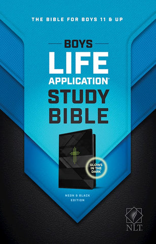 NLT Boys Life Application Study Bible LeatherLike Neon/Black