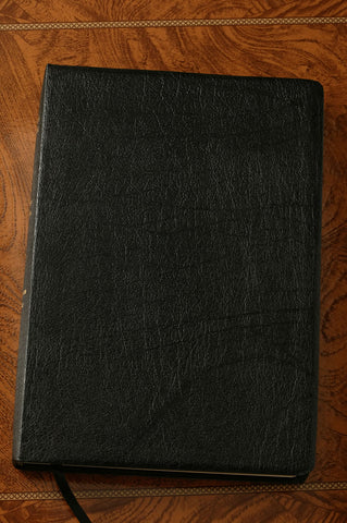 KJV Large Print Leather Study Bible--Black Bonded Leather Indexed