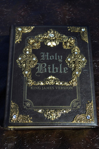 KJV Jeweled Family Bible Large Print ~Brown Swarovski Crystals and Pearls