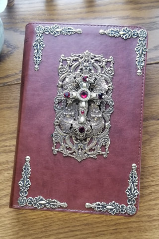 Large Print Ruby Crystals Decorated Cross Bible NKJV Brown
