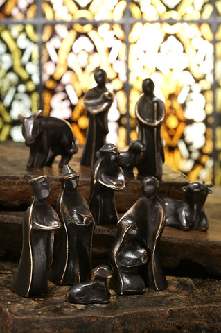 Bronze 12 Piece Nativity Set