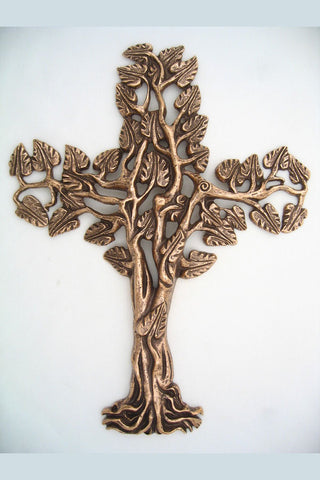 Tree of Life Filigree Bronze Cross-Medium 5""