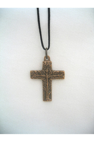 Bronze Tree of Life Cross Pendant