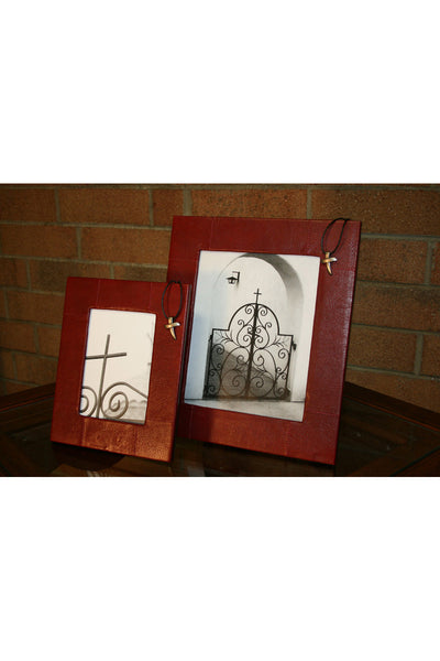 Promenade Red Leather Picture Frame with Cross Accent