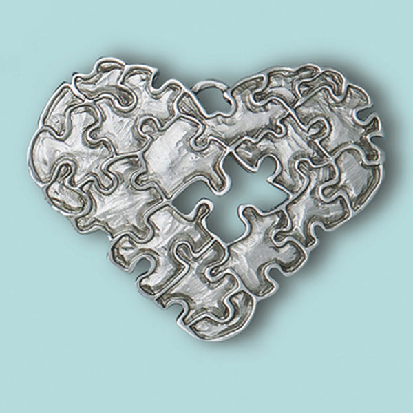 Puzzle Heart Pewter Onament