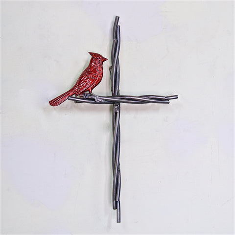 Cross and Bird -  Metal Cardinal and the Vine