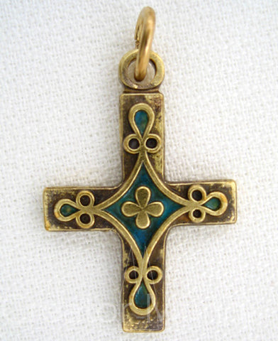 Clover Cross Pendant Blue