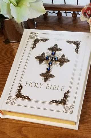 Jeweled Sapphire Crystal RSV Catholic Large Print Family Bible -Ivory