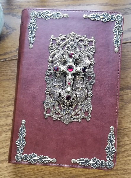 Decorated Cross Large Print Bible with Ruby Crystals ESV-Chestnut