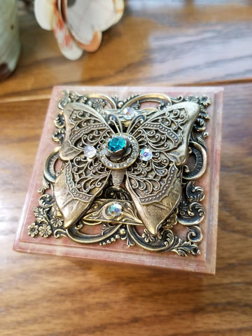 Square Butterfly Soapstone Box