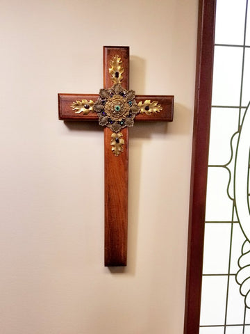 Fall Amethyst Color Wooden Wall Cross-24""