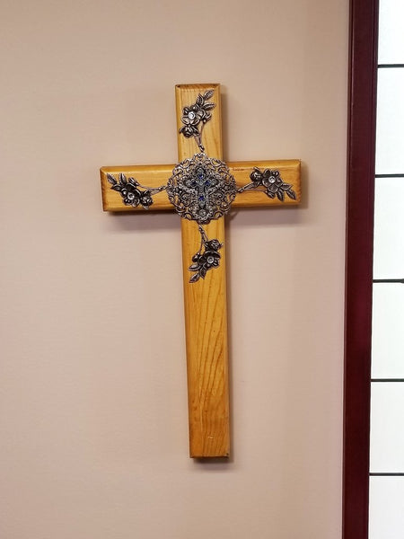 Majestic Blue Wooden Wall Cross 24""