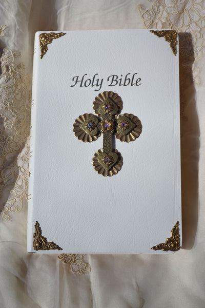 Jeweled Pink First Communion Bible - NAB White