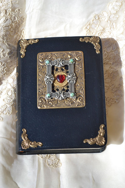Jeweled Sacred Heart Leather Bible Compact Edition - Choice of NKJV or KJV RETIRED