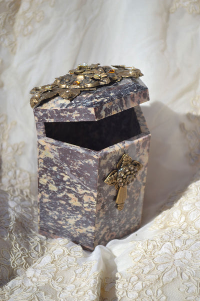 Tall Double Crystal Cross Soapstone Box