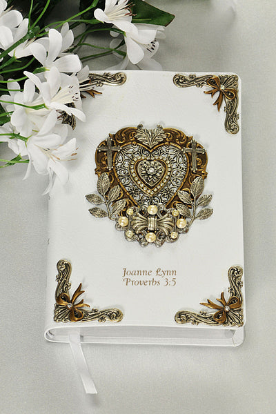 Jeweled Heart and Bowtie Crystal and Faux Pearl Personal Size Bible KJV