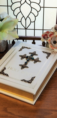 Jeweled Sapphire Crystal RSV Catholic Large Print Family Bible -White