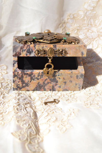 Rectangle Hinged Soapstone Box with Little Dangling Lock and Key