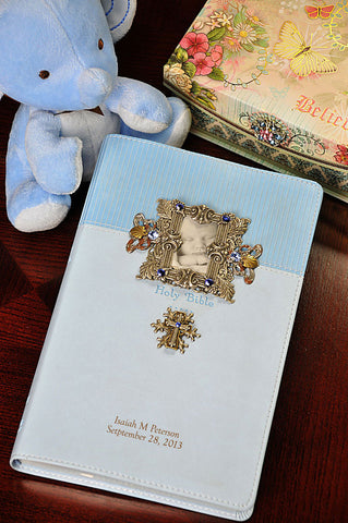 Jeweled Baby White Keepsake Bible NIV-Blue stones on Frame and Cross