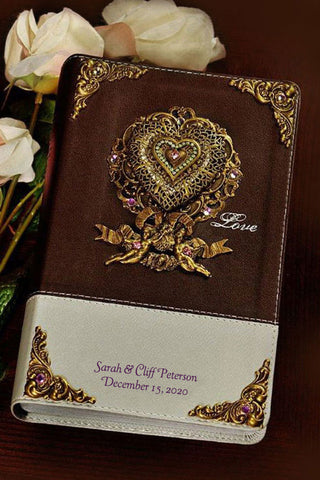 Jeweled Locket of Love Couples Devotional Bible Chocolate Silver NIV