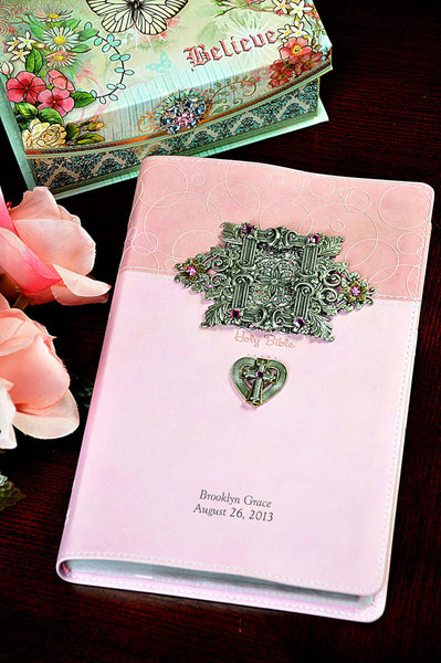 Jeweled Baby Pink Keepsake Bible NIV-Pink Frame And Heart