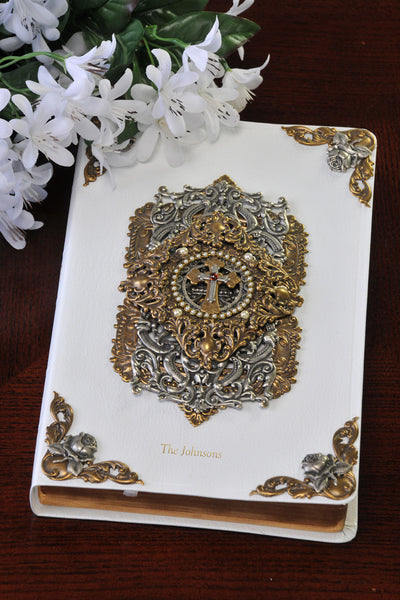 White Jeweled Cross and Pearl Bible KJV