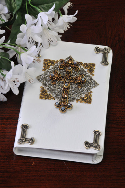Jeweled Tri-Color Cross Compact Bible - KJV