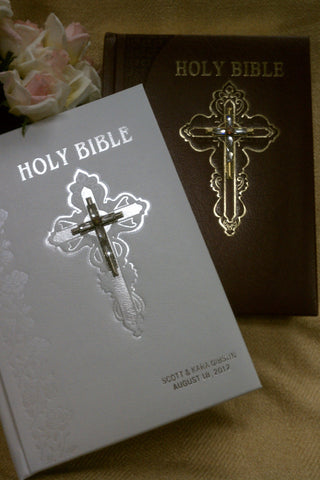 Jeweled Swarovski® Crystal Large Print Catholic Wedding Bible White NABRE