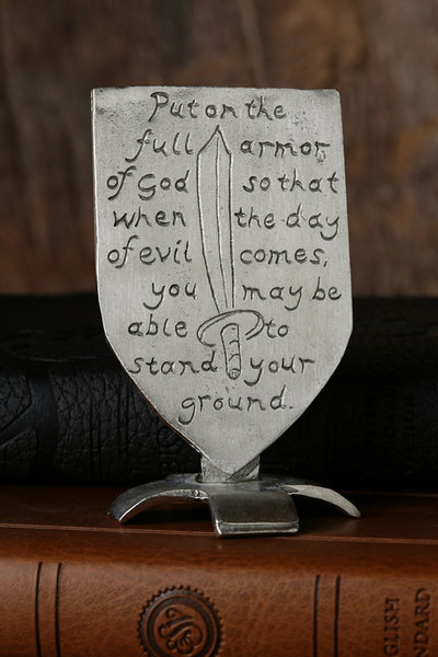 Put on the Armor of God Pewter Shield