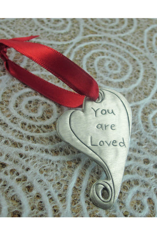 You Are Loved Heart Pewter Ornament