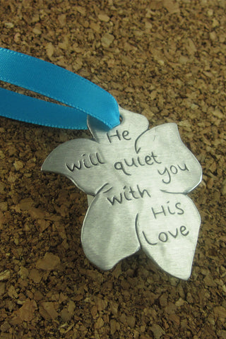 ON SALE He Will Quiet You Pewter Ornament