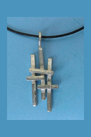 Triple Cross Pewter Pendant