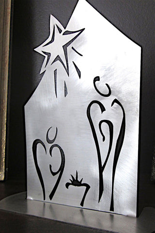 Standing Nativity in Stainless Steel