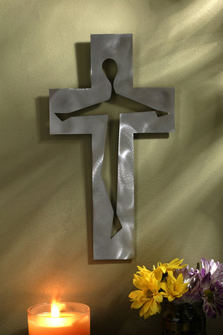 Brushed Steel Crucifix 10""