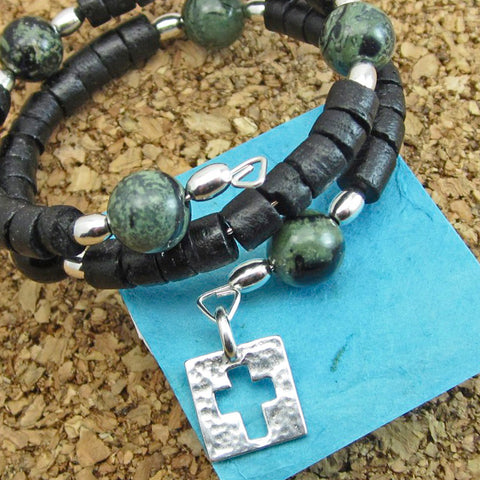 Circle of Prayer Wrap Bracelet-Jasper Beads