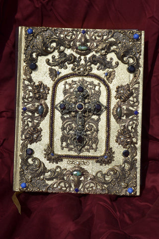Urbino Jeweled Family Bible with Faceted Garnets & Pearls KJV