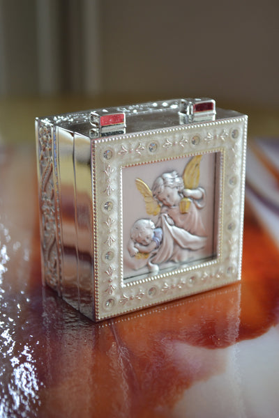 Guardian Angel with lamp Sterling Silver Keepsake Box