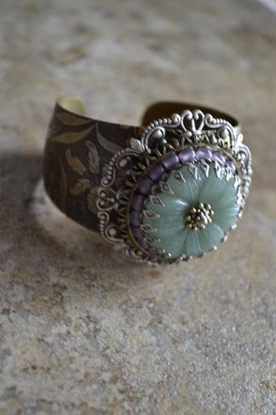 Gemstone Medallion Cuff Bracelet