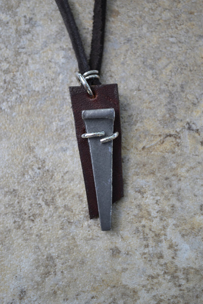 Pewter Nail on Leather  - Leather Necklace